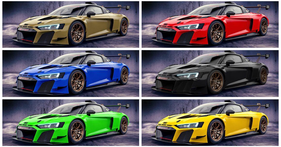 Подразделение Audi Sport окрасило шестёрку гоночных Audi R8 LMS GT2 в необычные цвета: каждый болид в исполнении Color Edition обрёл особую ливрею.