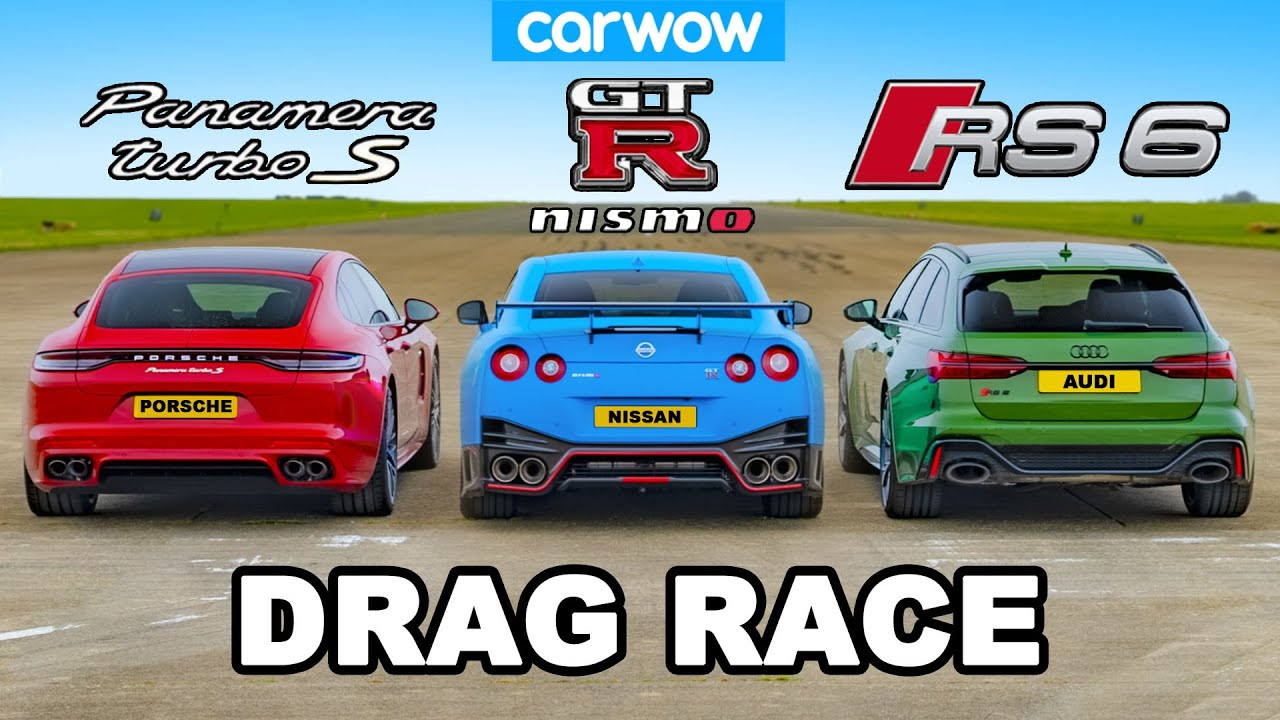 The CarWOW crew found three powerful AWD cars to pit against each other: an Audi RS 6 Avant wagon went up against a Nissan GT-R Nismo and a facelifted Porsche Panamera Turbo S E-Hybrid.