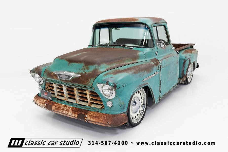 This 1955 Chevrolet 3100 truck looks rusted all over, which is not surprising given its age, but it is actually in top driving condition and up for sale on the Classic Car Studio website.