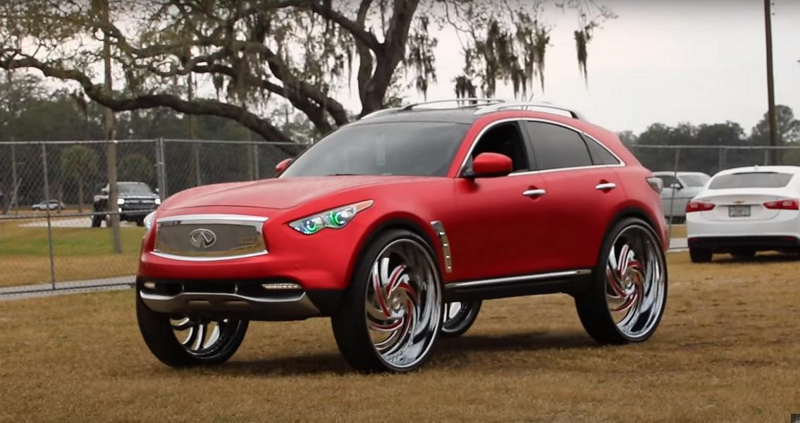 If you think comically oversized wheels can destroy the aesthetics of any car you put them on, well, you are on to something. Please take a good look at this Infiniti QX70 and try your best not to do anything like this to your ride, ever.