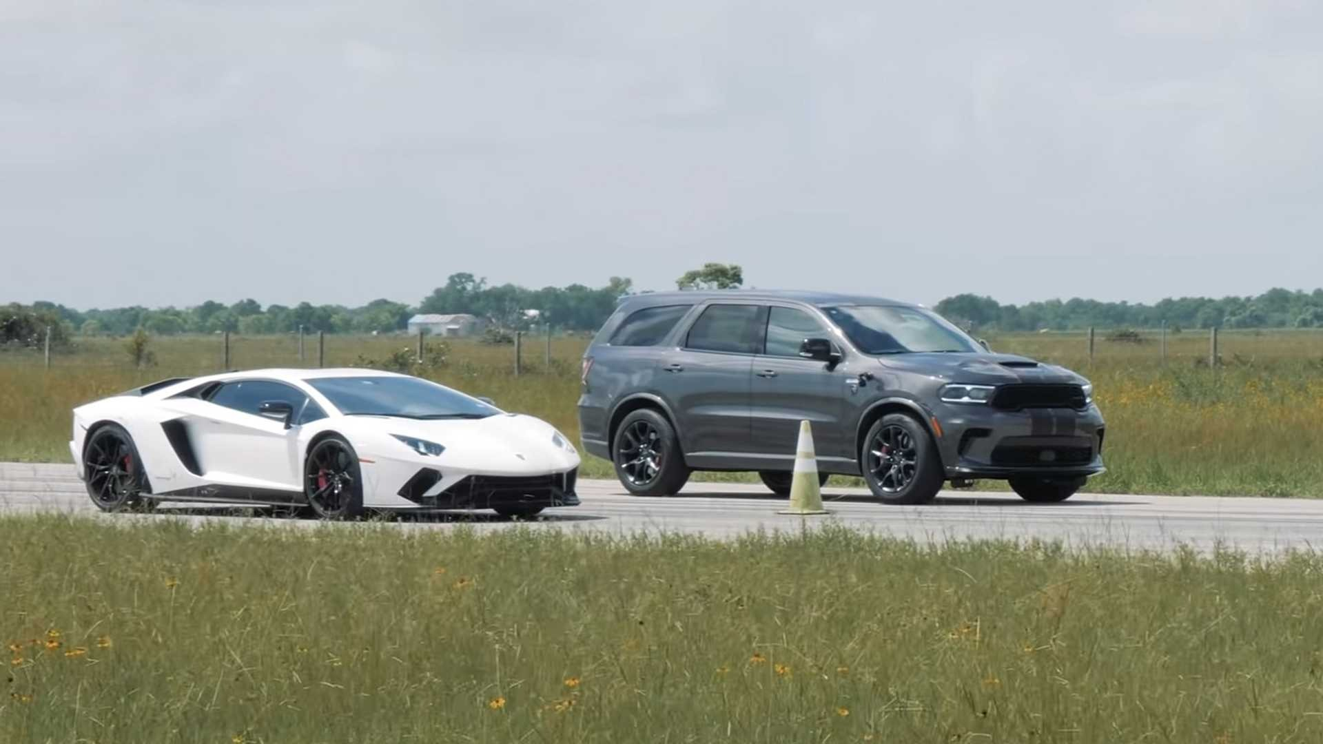 Texan tuning house Hennessey Performance is working on an HPE 1000 power upgrade for the Dodge Durango SRT Hellcat, and has recently raced its test vehicle against a Lamborghini Aventador S. Shall we cry foul?