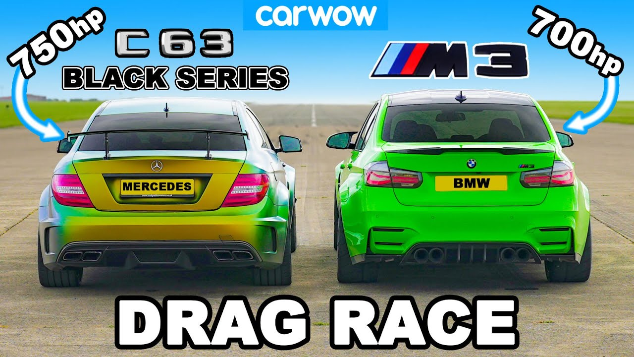 The CarWOW team has arranged for a race between a tuned BMW F80 M3 and an even more extreme Mercedes-Benz C 63 AMG Black Series.