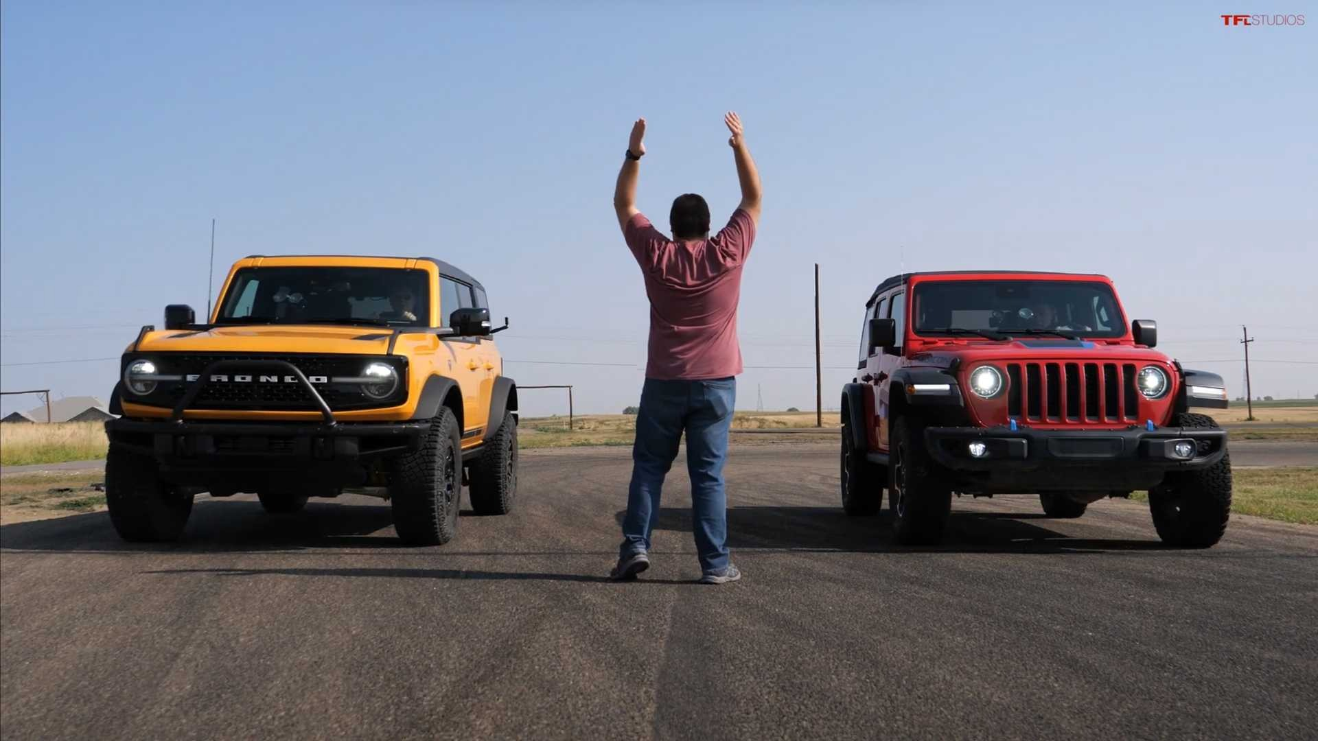 The fight between two mighty off-roading rivals, the Jeep Wrangler and the Ford Bronco, goes much farther than just the showrooms. Neither is cut out for drag racing, but the TFLcar team still put them onto a quarter-mile track for comparison.