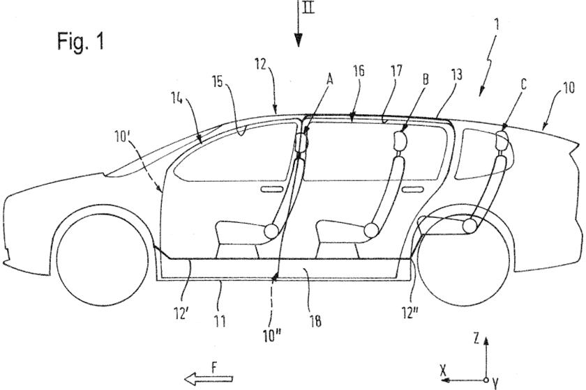 The German automaker has patented blueprints of an unconventional car door design that comprises two parts. One of the parts swings open and the other one lifts up.