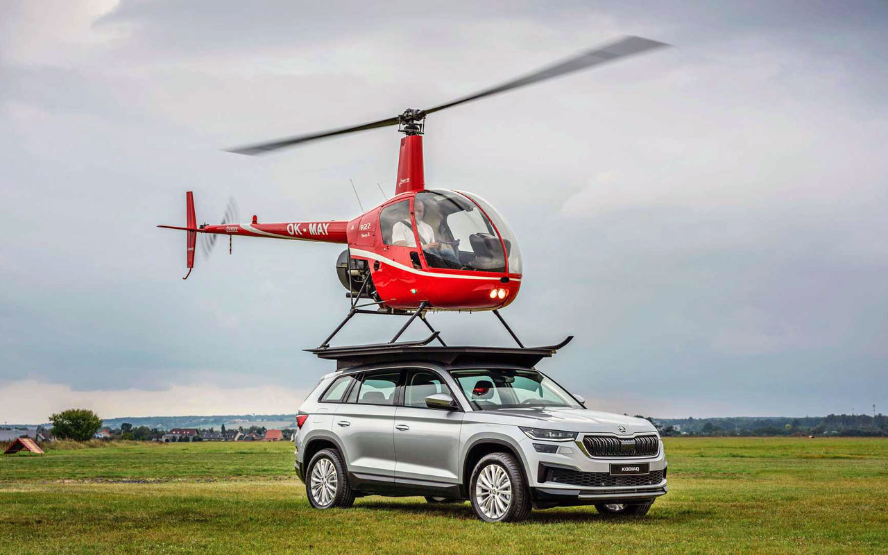 Skoda has published a video reproducing the Top Gear stunt from a decade ago, with a real helicopter alighting on the top of its Kodiaq SUV.