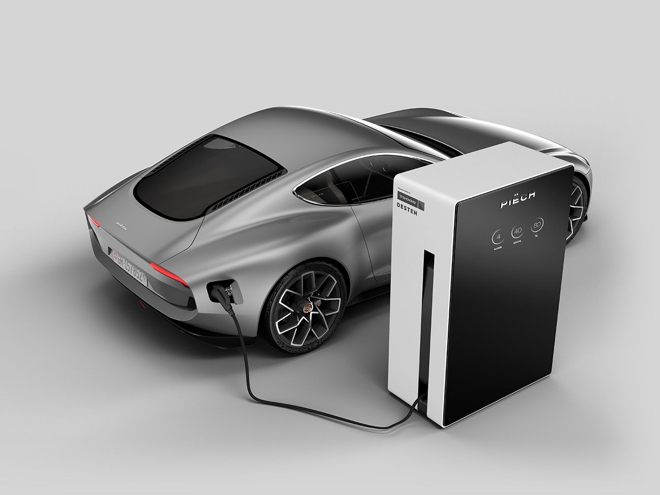 Desten Group has revealed a charging device concept capable of transmitting up to 900 kW to the car, more than thrice as much as the Tesla Supercharger can do. Replenishing 80% of the charge takes mere 4 minutes 40 seconds.