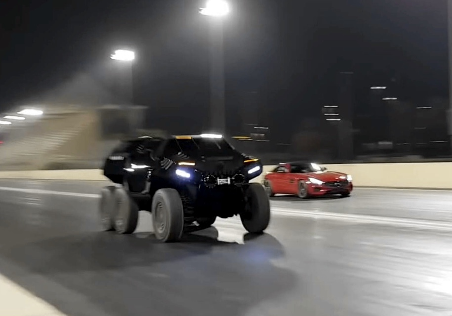 The race took place in Dubai, UAE, in nighttime specifically so as not to attract the unwanted police attention