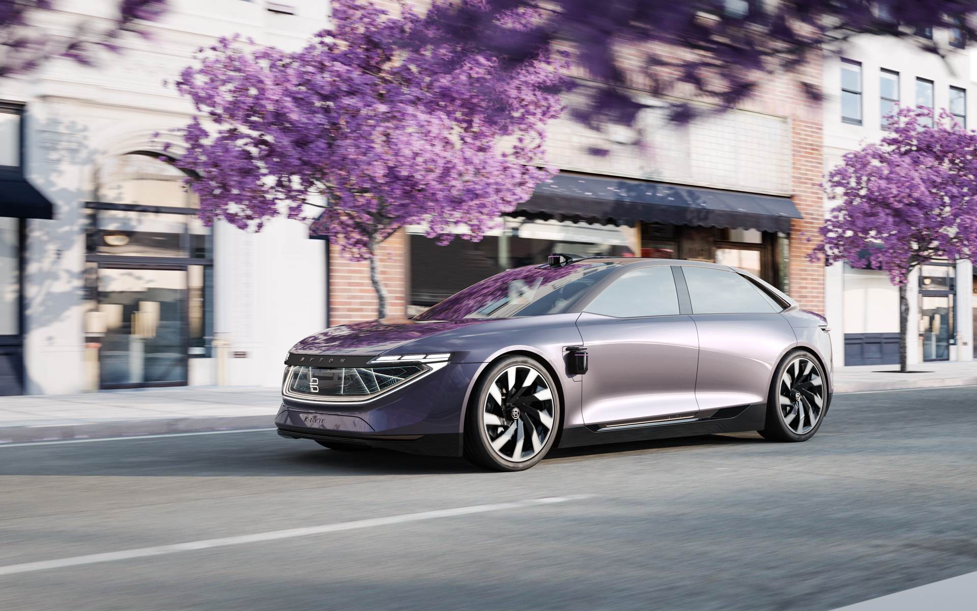 The all-electric K-Byte Concept has a futuristic exterior design that echoes some features of the Lucid Air and the Faraday Future FF91