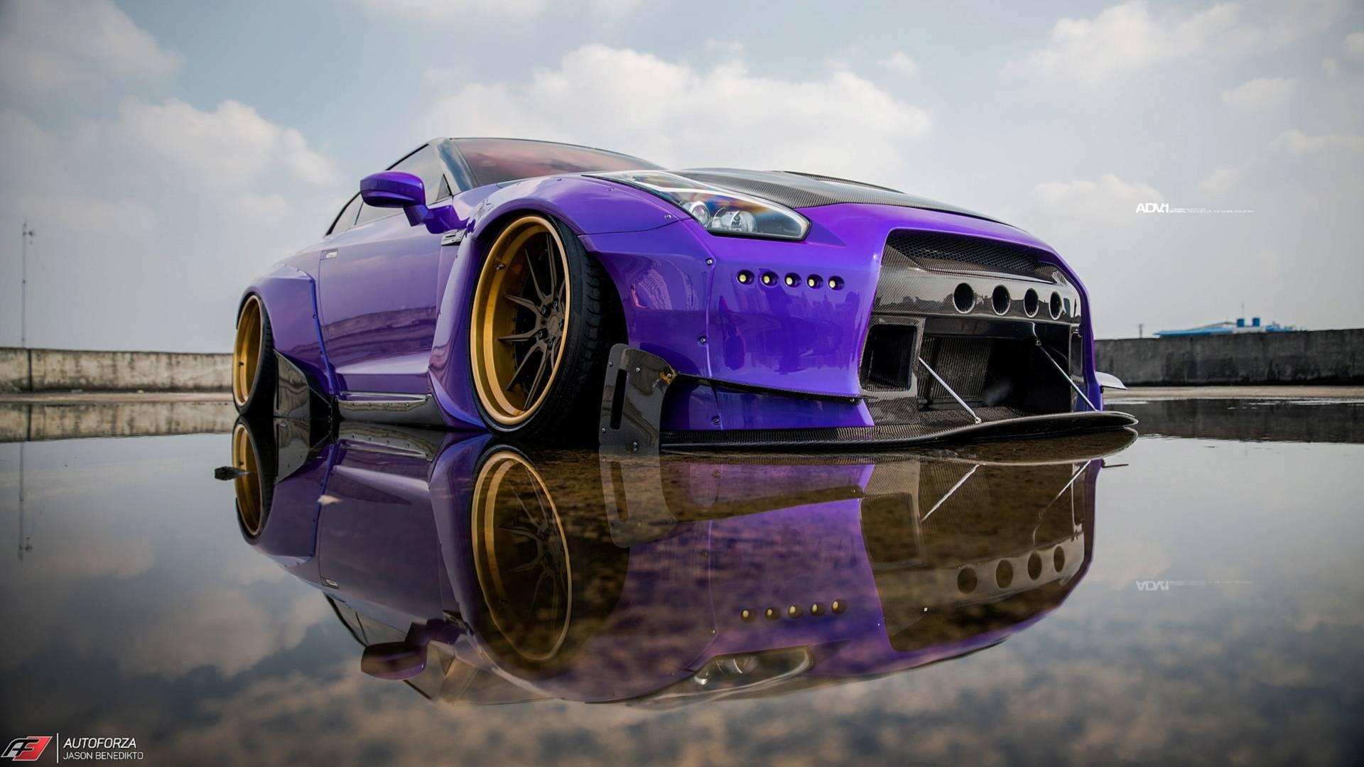 Мастерская ADV.1 Wheels представила необычную работу – модернизированный Nissan GT-R в ярко-фиолетовом окрасе