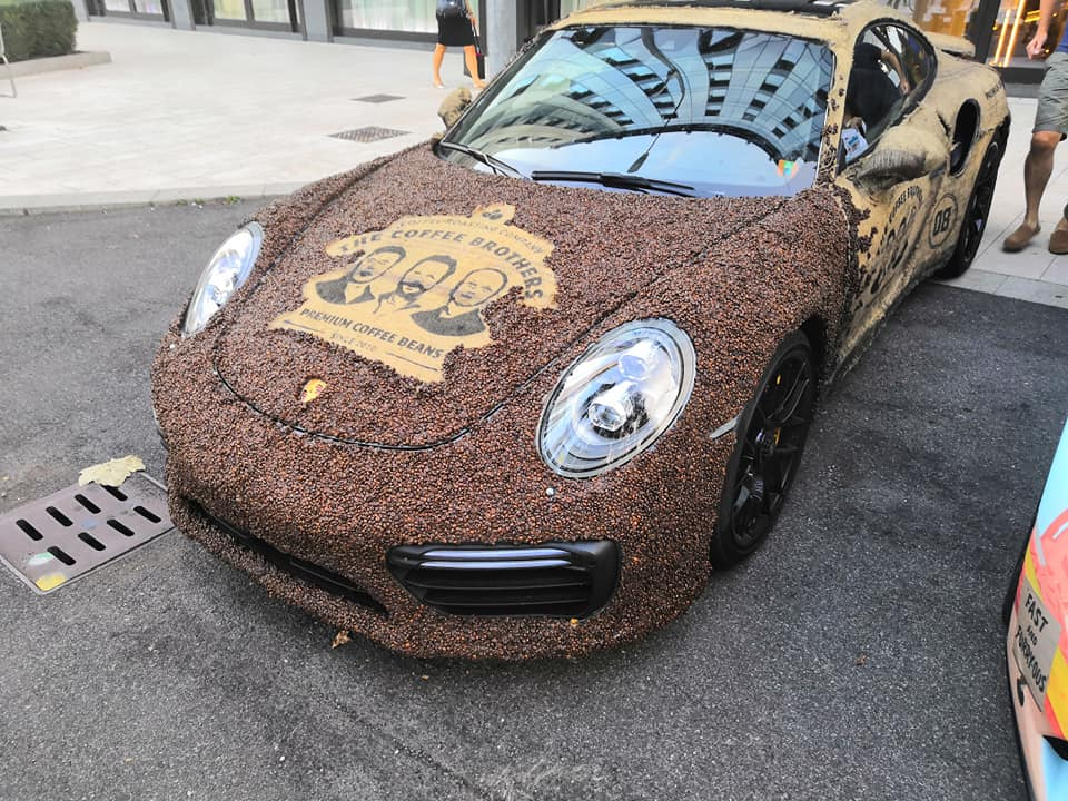 30 percent of the car body is covered in beans that are held together by glue